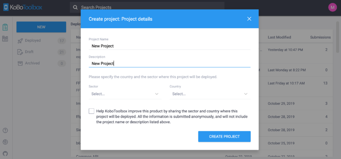 6. Create Project popup