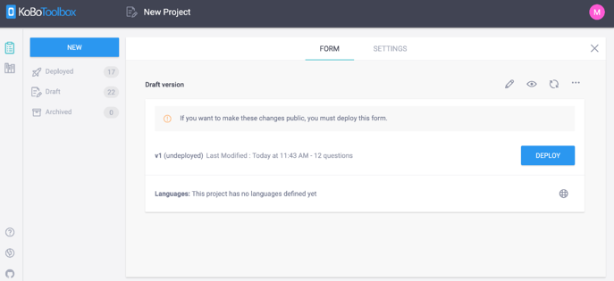 7. New project screen